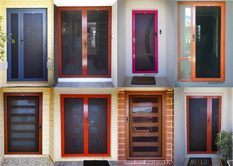 Different coloured security screen doors WA.
